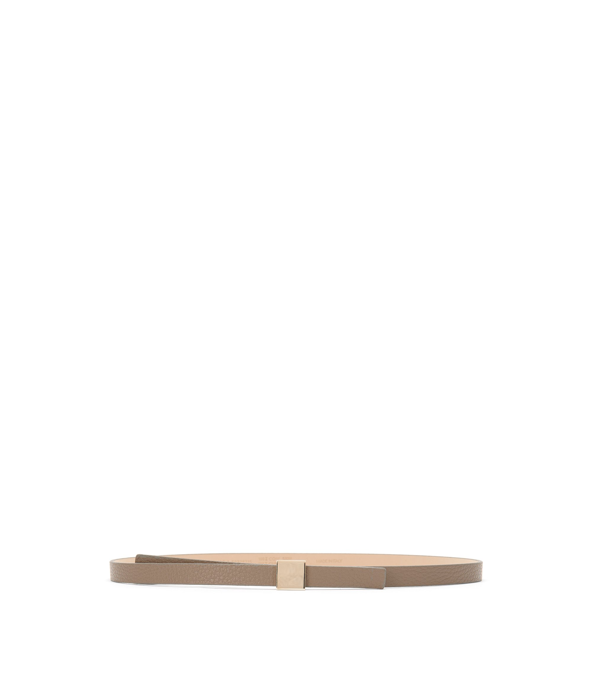'Bliss-A' | Grained Leather Belt, Khaki