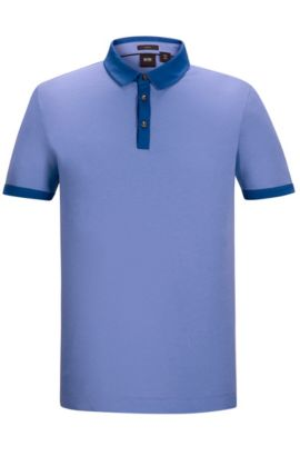 'Platt' | Slim Fit, Cotton Jersey Polo Shirt, Blue