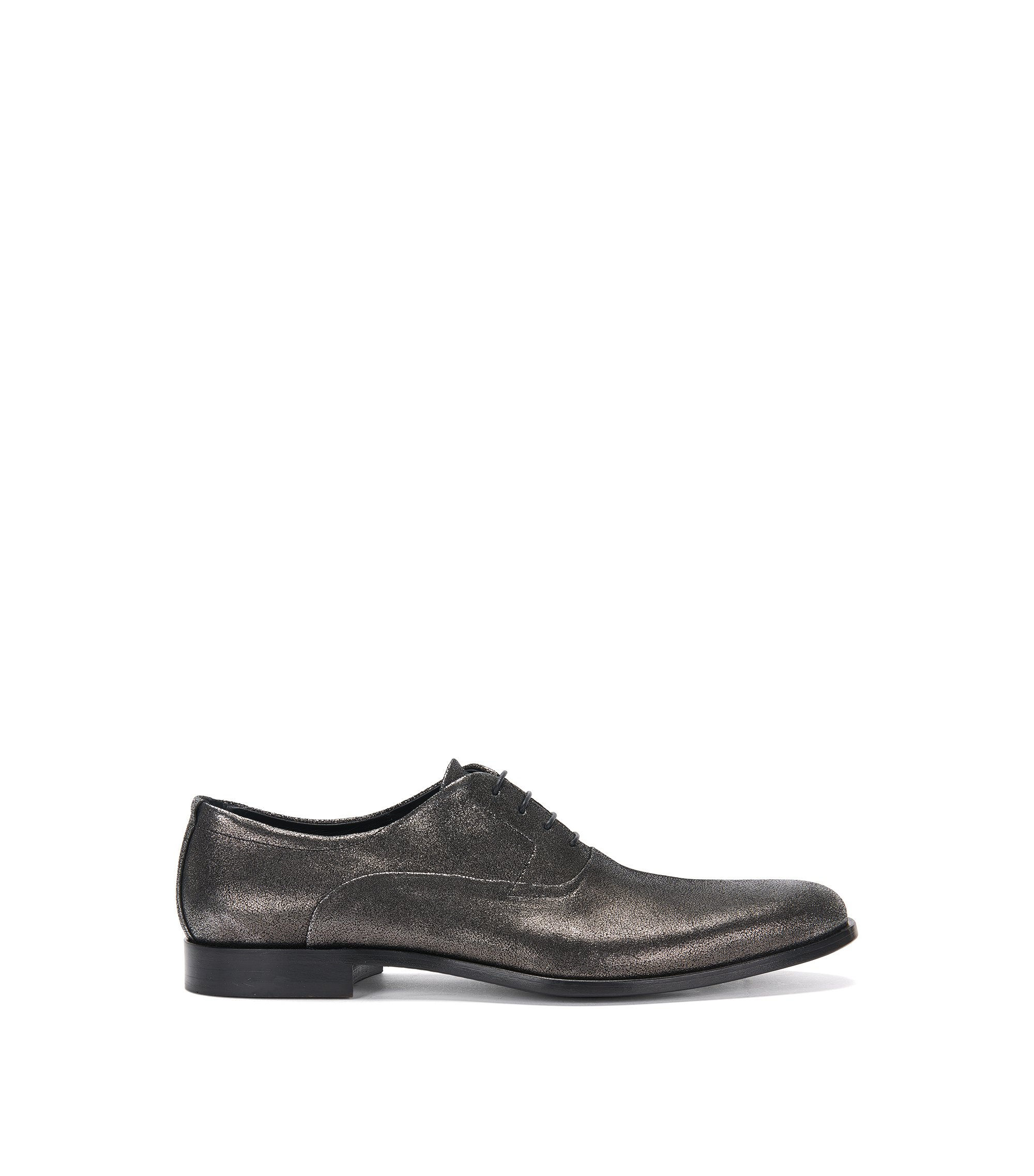 Italian Leather Suede Metallic Oxford Shoe | Sigma Oxfr Sdg, Dark Grey