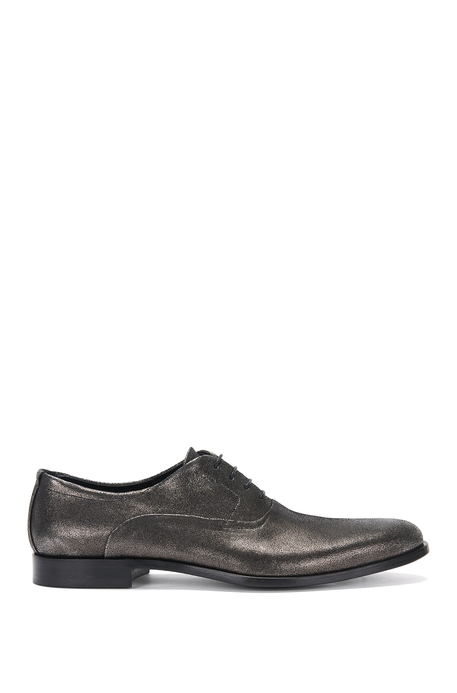 Italian Leather Suede Metallic Oxford Shoe | Sigma Oxfr Sdg, Dark Grey