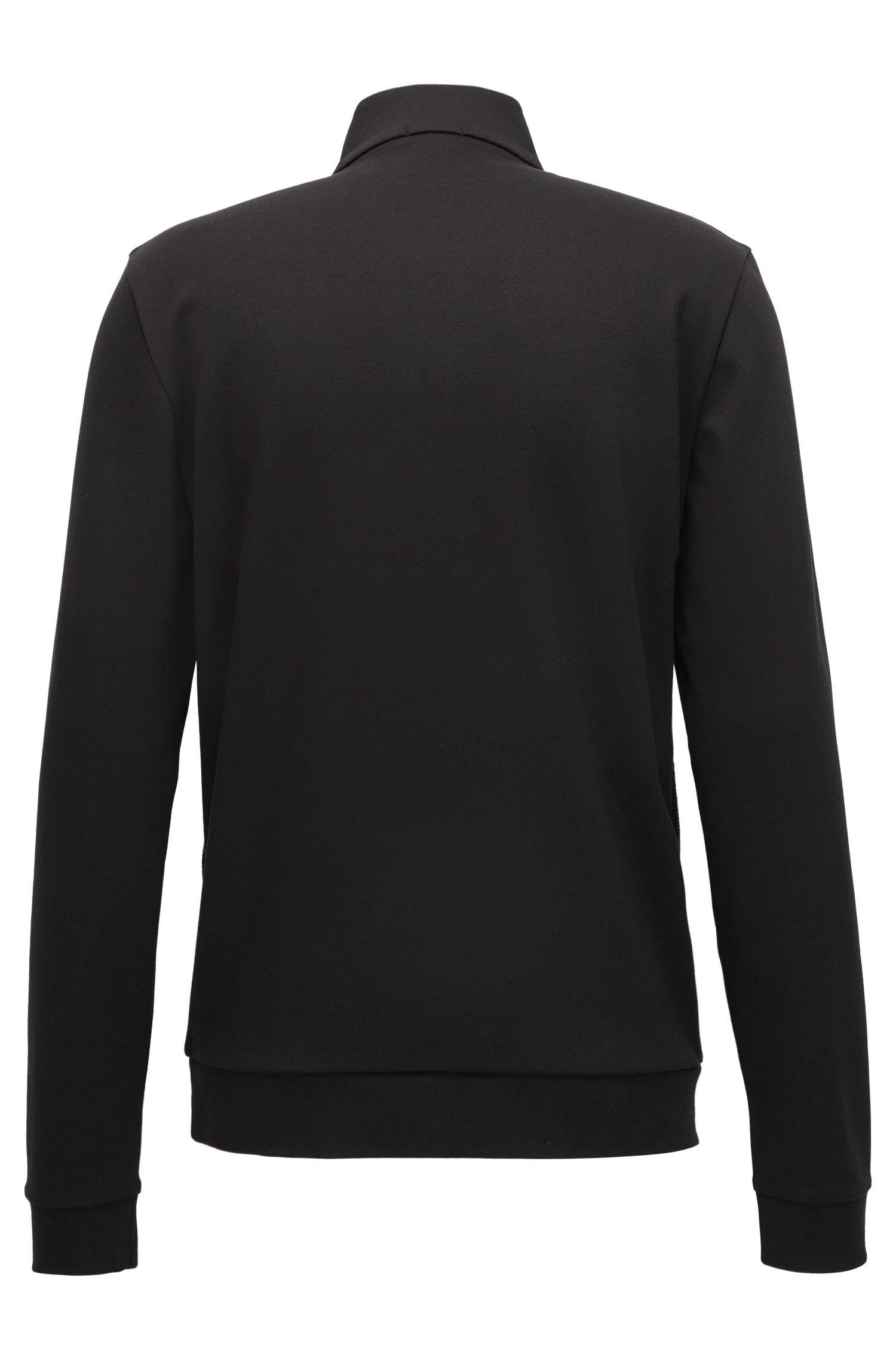 Zip-neck sweatshirt in mercerized cotton, Black