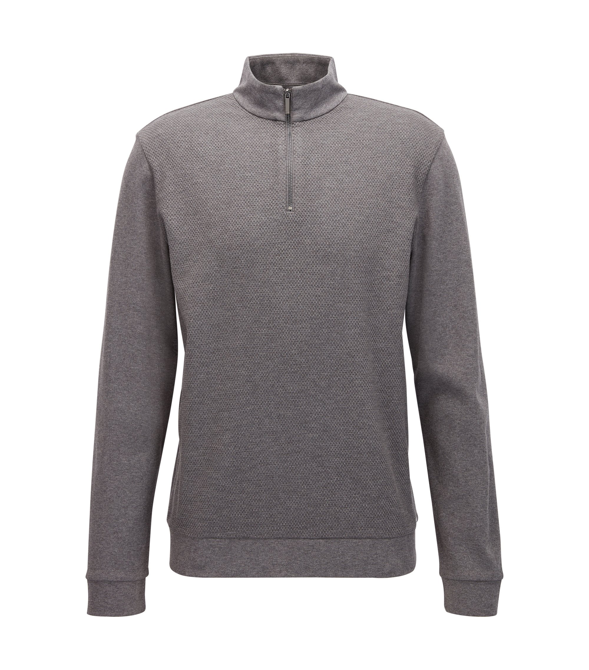 Cotton Birdseye Half-Zip Sweatshirt | Sidney, Grey