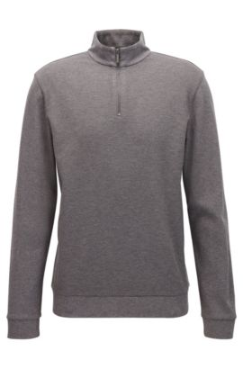 'Sidney' | Cotton Birdseye Troyer Sweatshirt, Grey