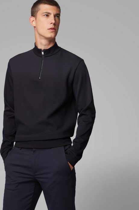 Zip-neck sweatshirt in mercerized cotton, Dark Blue