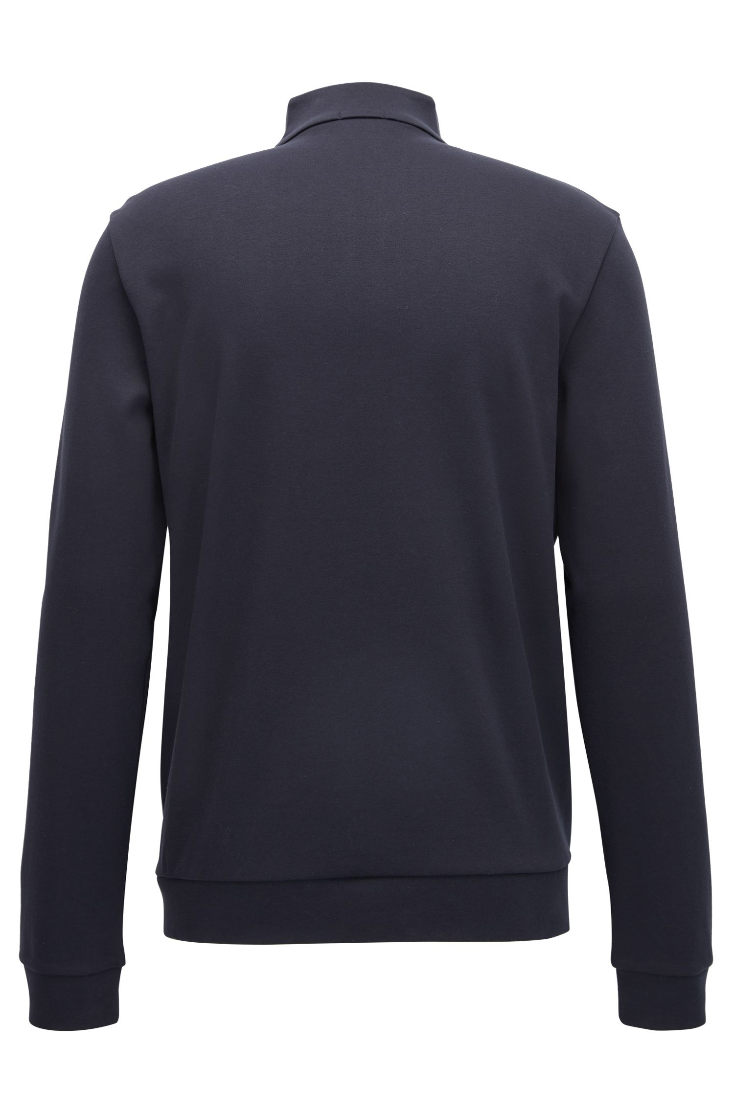 'Skiles' | Cotton Textured Sweat Jacket, Dark Blue