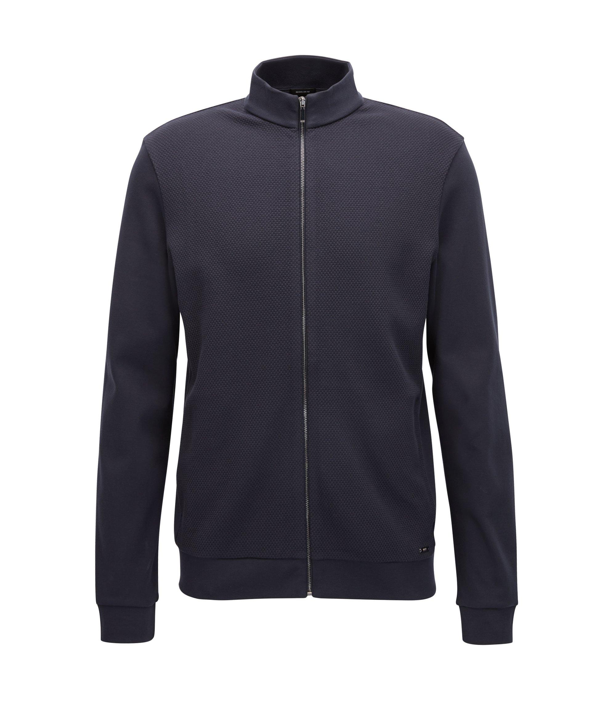 'Skiles' | Cotton Textured Sweat Jacket, Dark Blue