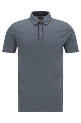 Mercerized Jacquard Cotton Polo Shirt, Regular Fit | Press, Dark Blue
