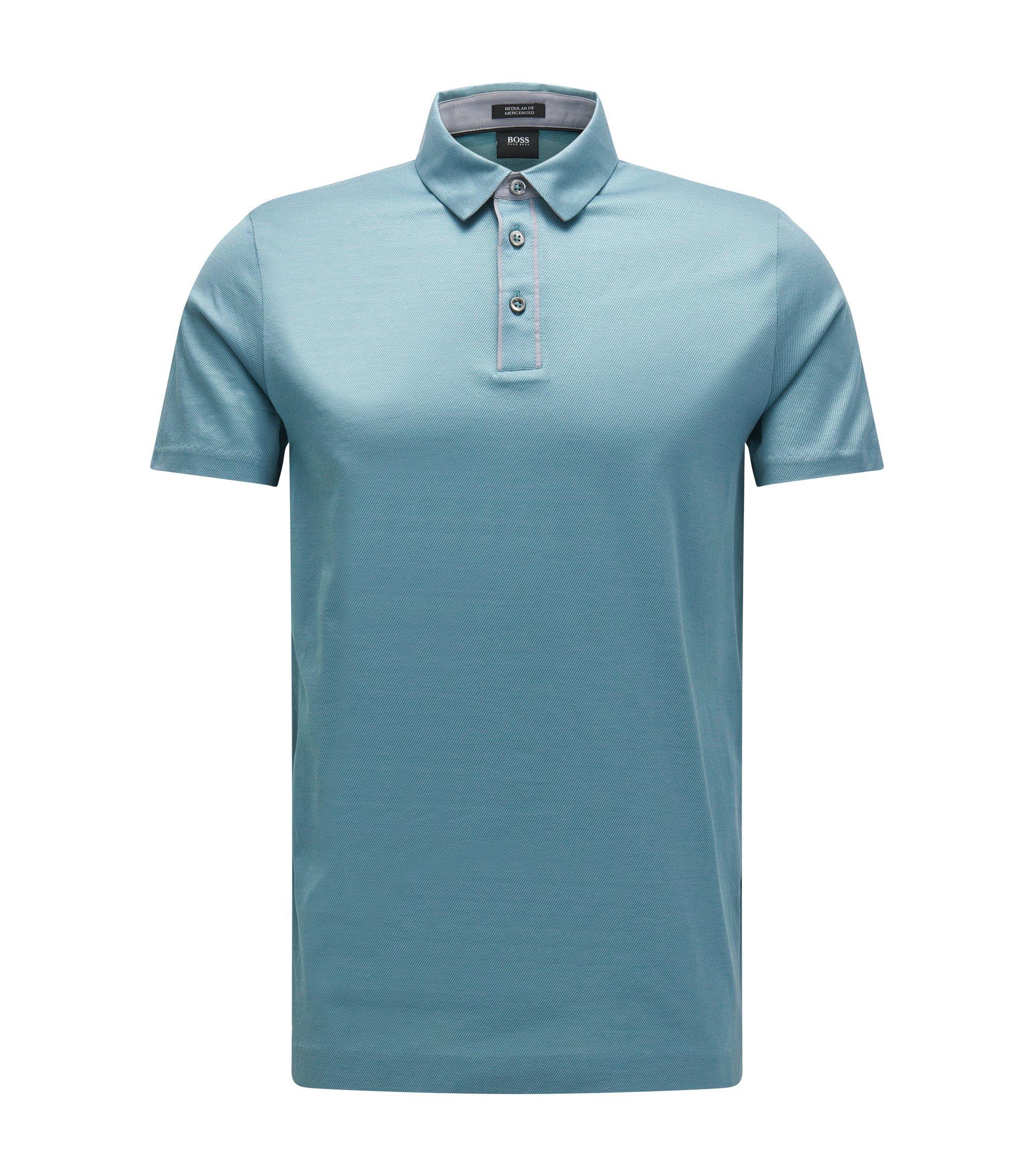 Mercerized Jacquard Cotton Polo Shirt, Regular Fit | Press, Light Blue