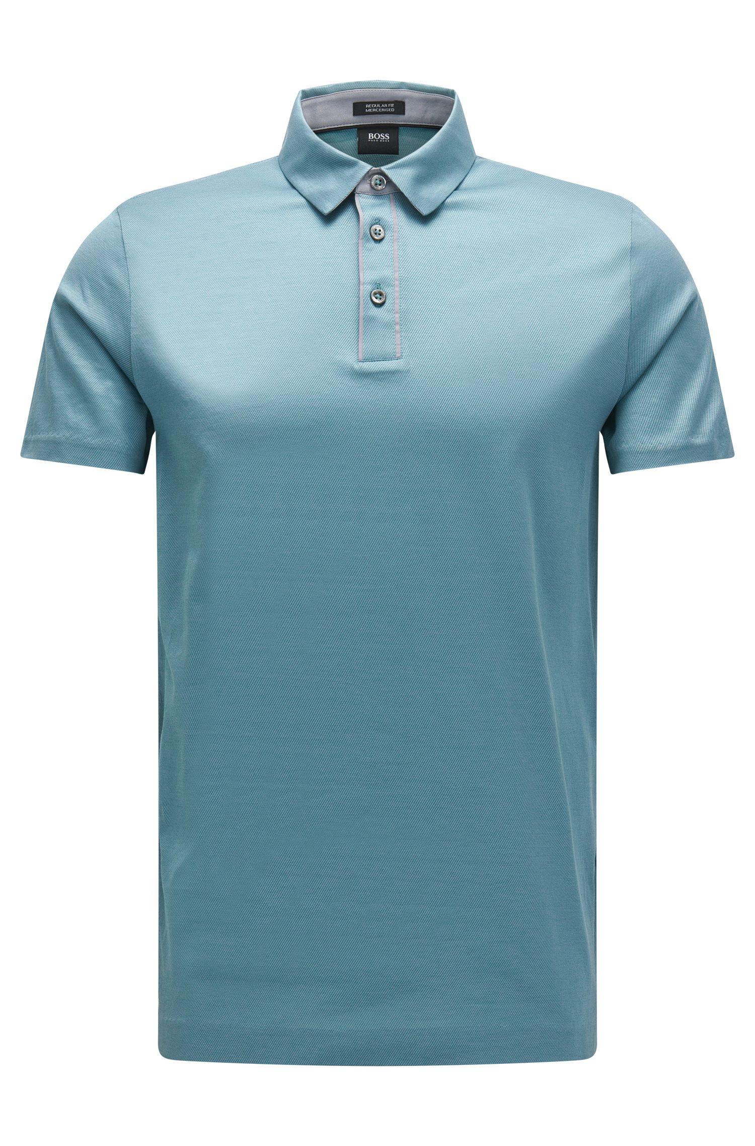 'Press 15' | Regular Fit, Mercerized Jacquard Cotton Polo Shirt