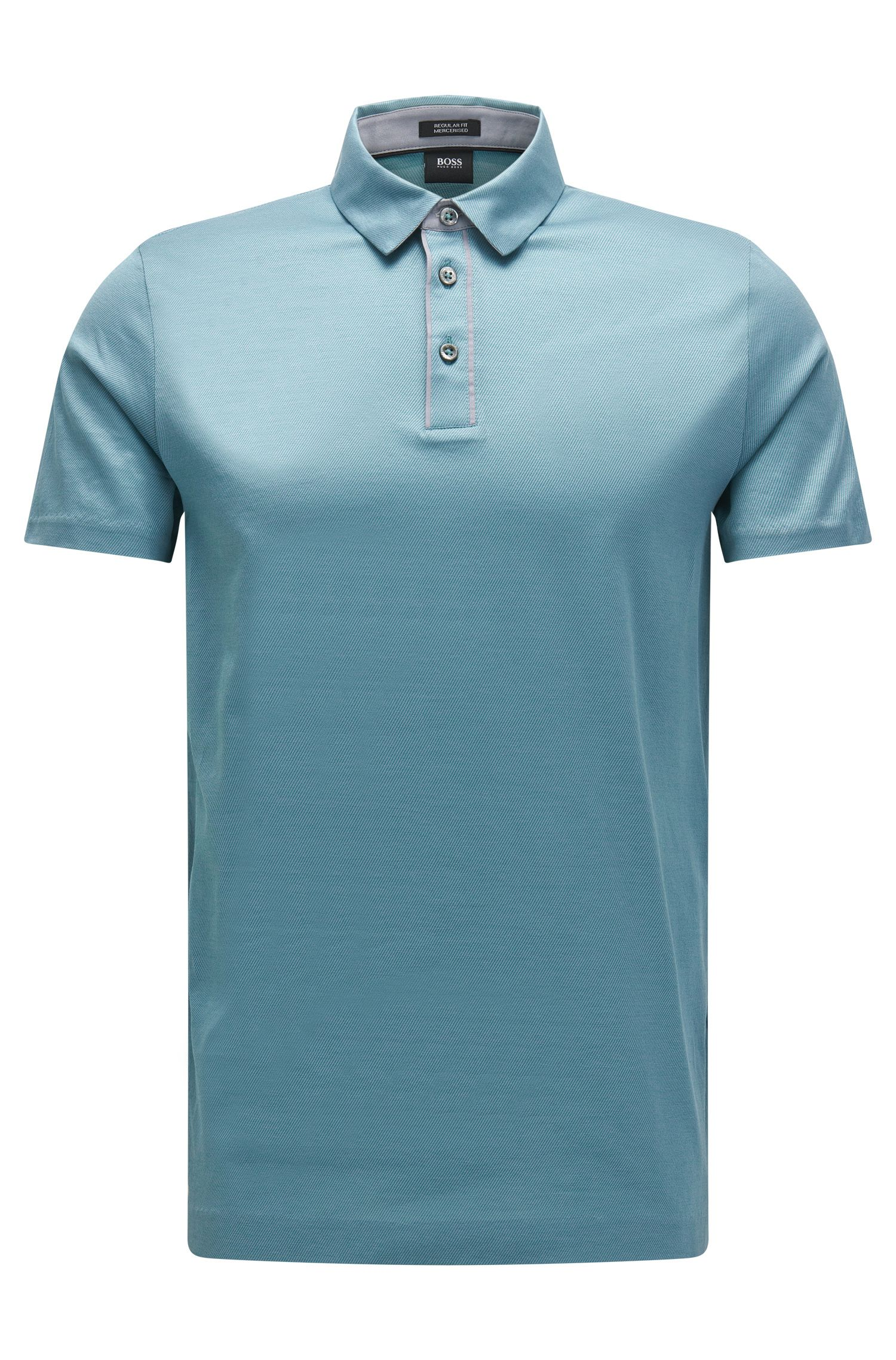 Mercerized Jacquard Cotton Polo Shirt, Regular Fit | Press