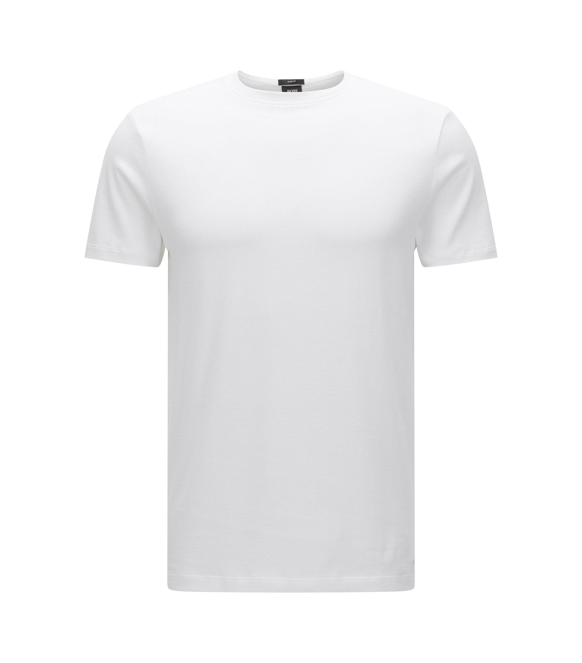 Cotton Mesh Texture T-Shirt | Tessler, White