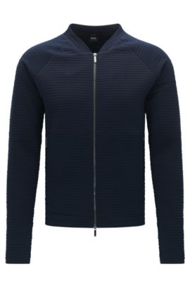 'Salea' | Italian Cotton Blend Ottoman Stripe Sweat Jacket, Dark Blue