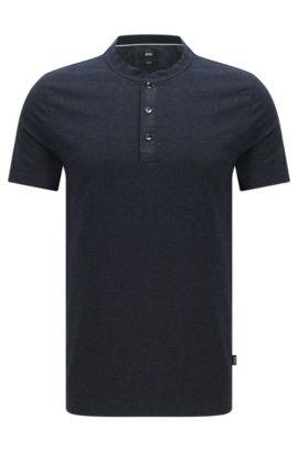 'Tiller' | Slim Fit, Cotton Blend Henley T-Shirt, Dark Blue