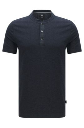 'Tiller' | Slim Fit, Cotton Blend Henley T-Shirt, Dark Blue