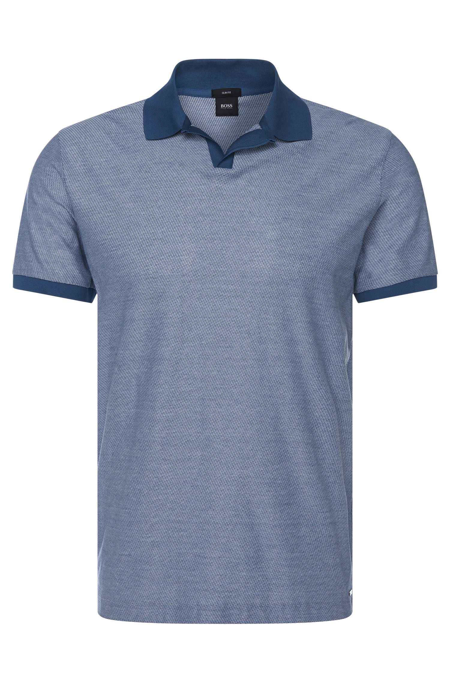 Cotton Patterned Polo Shirt, Slim Fit | Phillipson , Open Blue