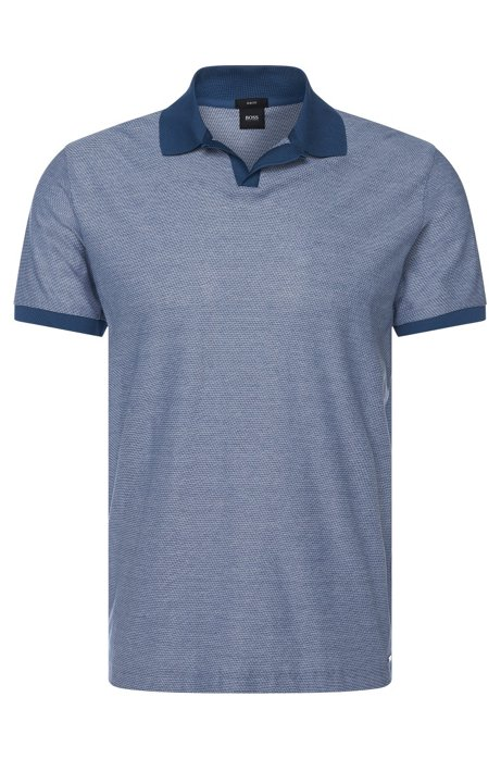 7af2fea48 BOSS - Cotton Patterned Polo Shirt, Slim Fit   Phillipson