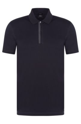 Cotton Polo Shirt, Slim Fit | Plater, Dark Blue