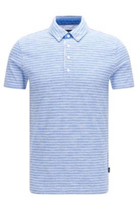 Cotton Striped Polo Shirt, Slim Fit | Platt, Blue