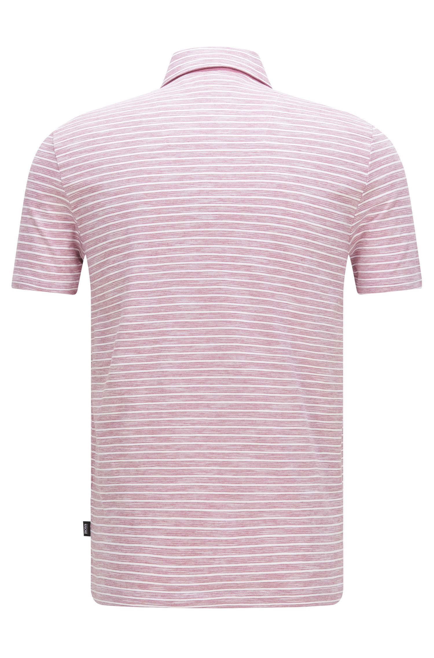 Cotton Striped Polo Shirt, Slim Fit | Platt, Pink