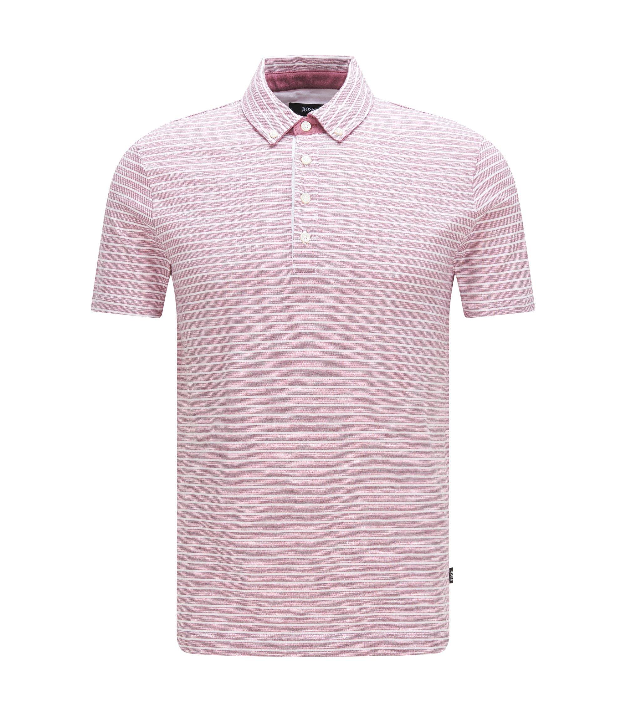 Cotton Striped Polo Shirt, Slim Fit   Platt, Pink