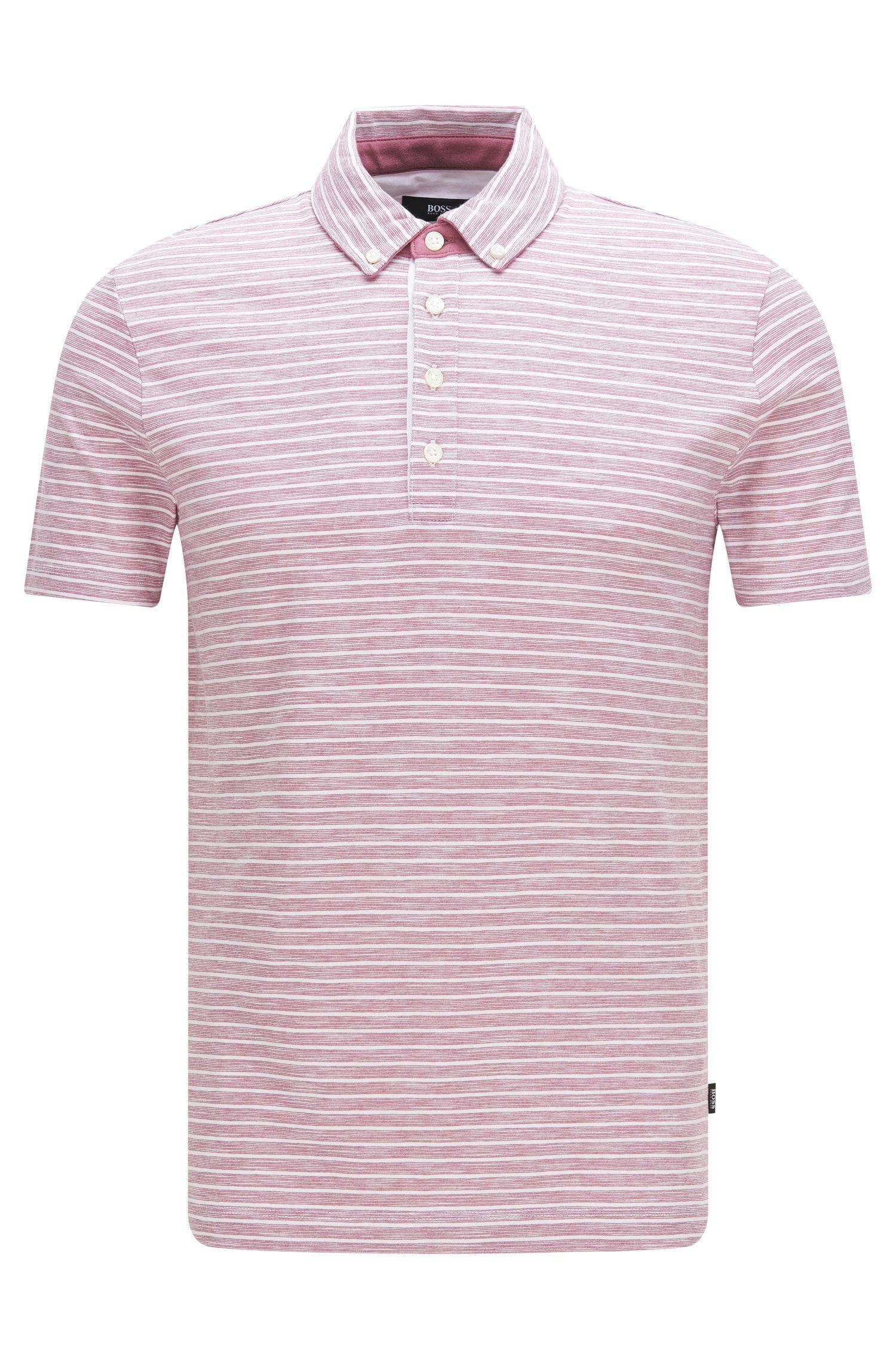 Cotton Striped Polo Shirt, Slim Fit | Platt