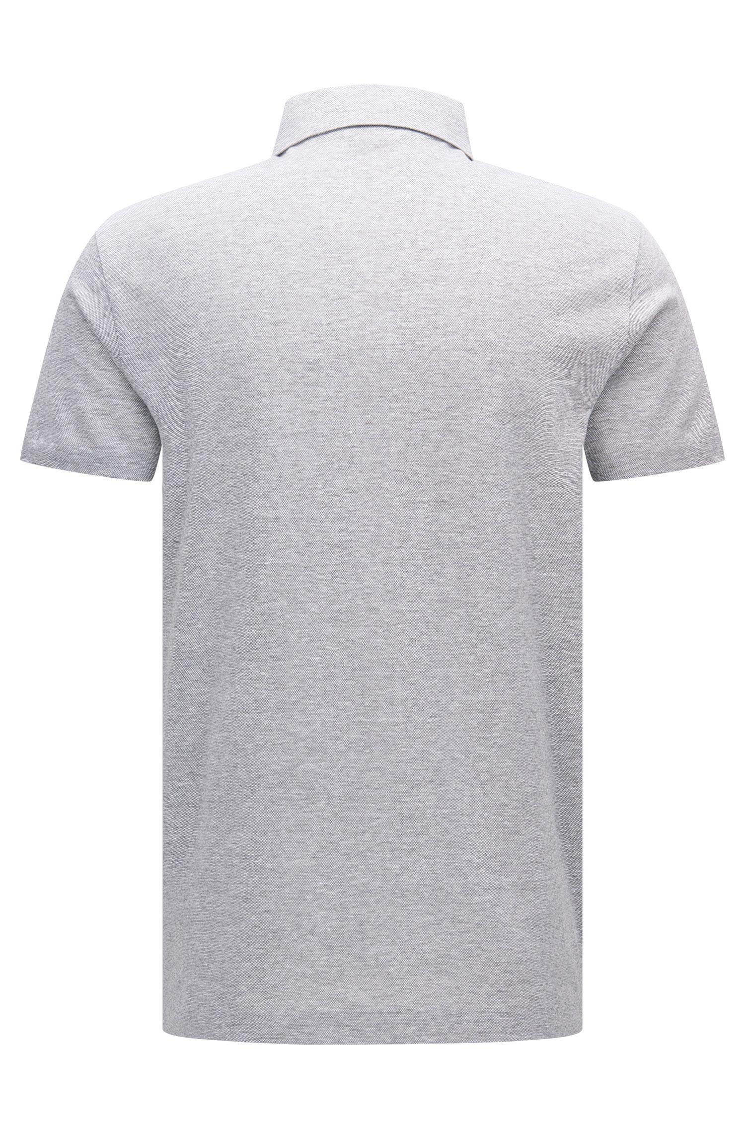 Melange Cotton Linen Polo Shirt, Regular Fit | Press, Open Grey