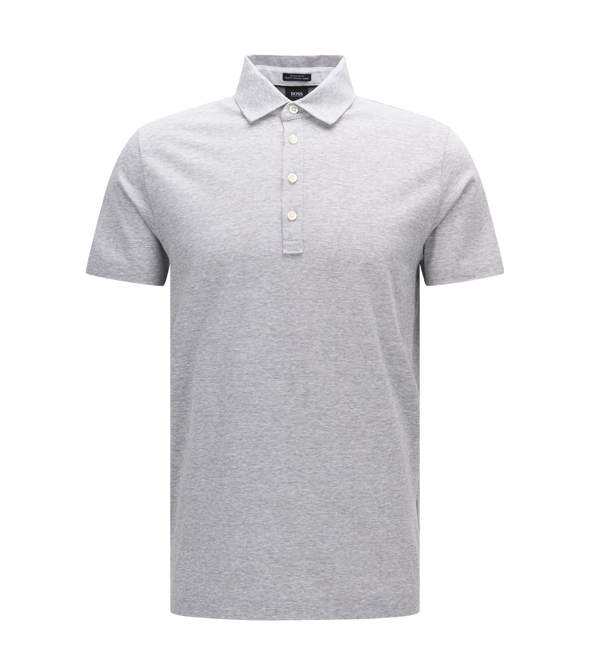 Melange Cotton Linen Polo Shirt, Regular Fit | Press, Open Grey