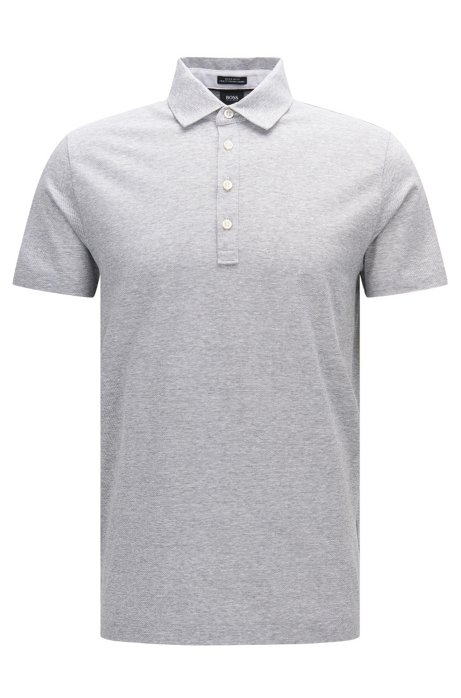 Boss Melange Cotton Linen Polo Shirt Regular Fit Press