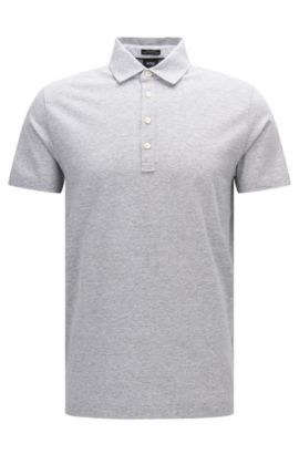 'Press 16' | Regular Fit, Melange Cotton Linen Polo Shirt, Open Grey