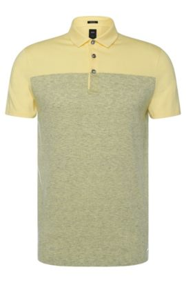 'T-Pryde' | Slim Fit, Italian Cotton Linen Blend Polo Shirt, Light Yellow