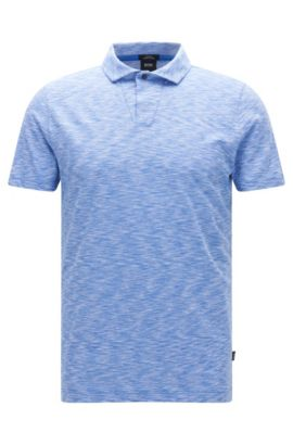 'Plato' | Slim Fit, Pima Cotton Jersey Polo Shirt, Blue