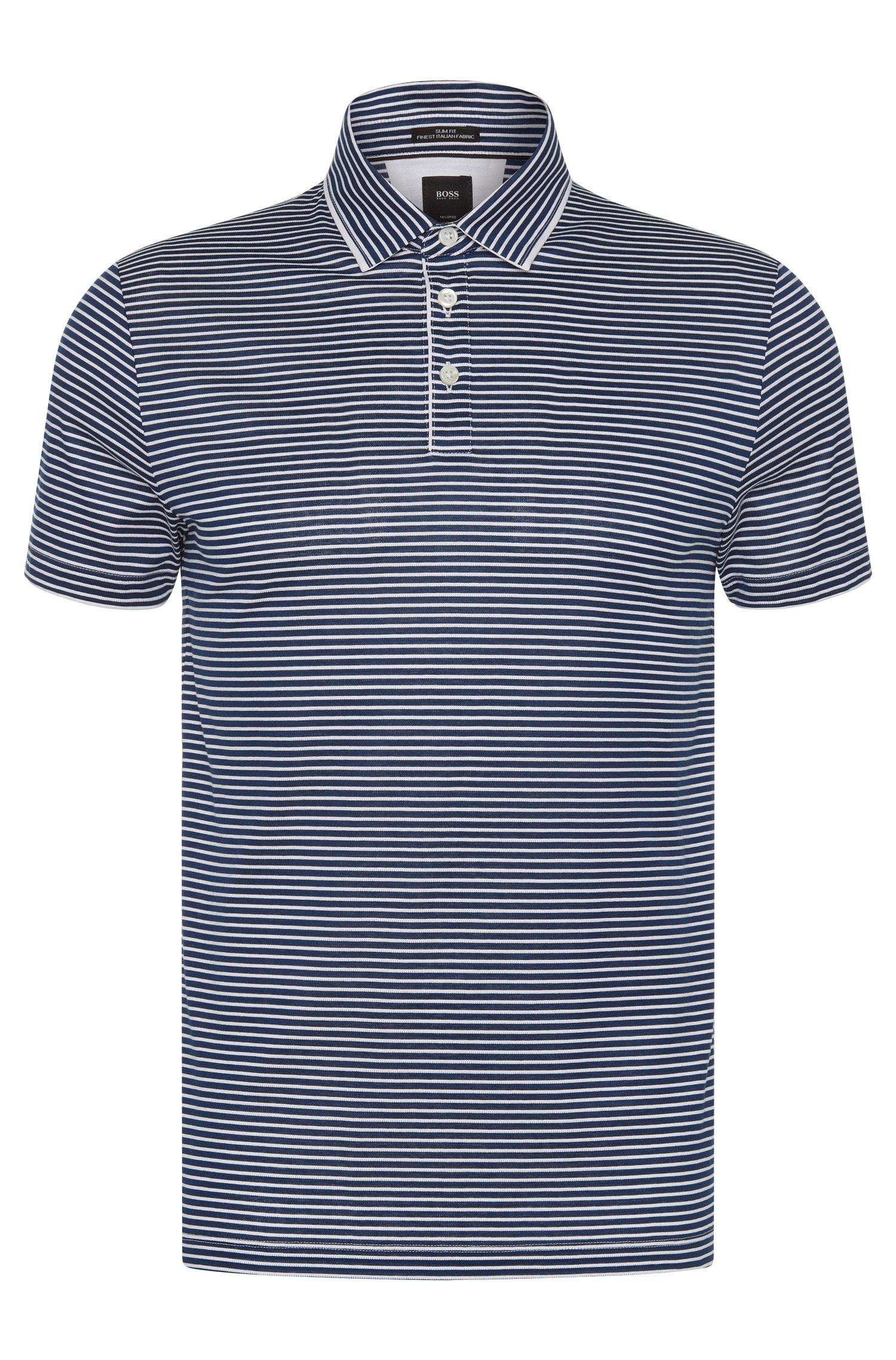 Italian Cotton Polo Shirt, Slim Fit | T-Pryde, Dark Blue