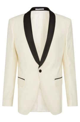 Italian Virgin Wool Textured Dinner Jacket, Slim Fit | Hockley, Natural