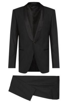 Stretch Virgin Wool Blend Tuxedo, Slim Fit | Hanfrey/Greys, Black