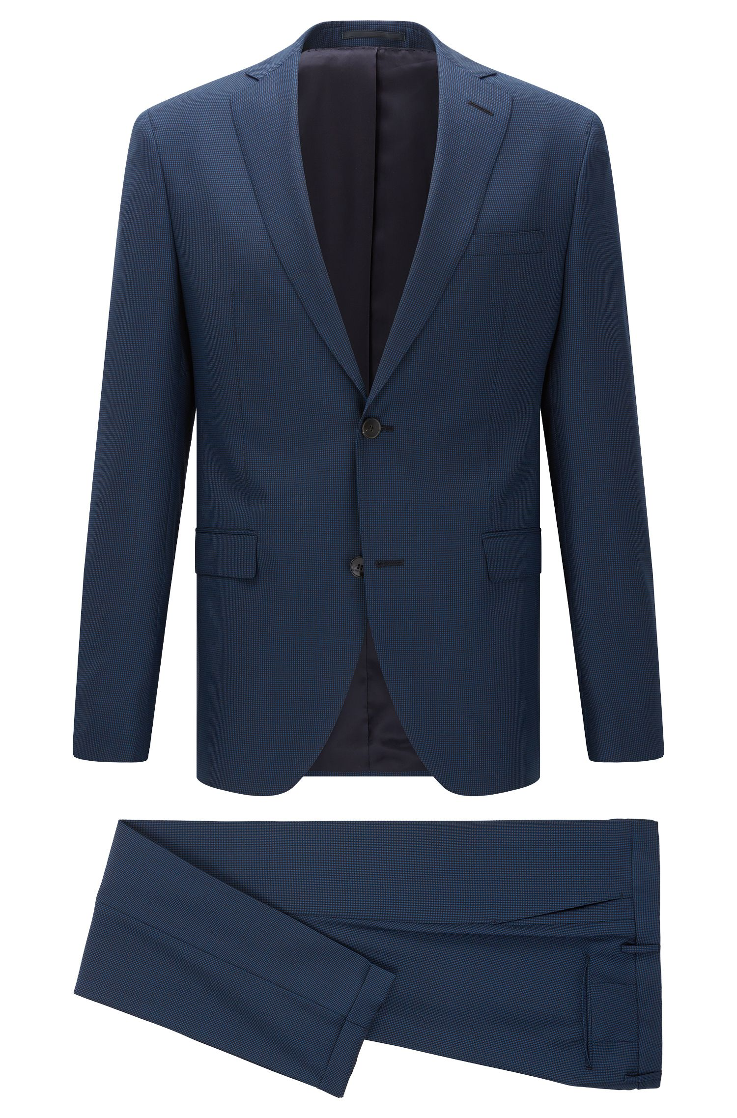 Birdseye Italian Super 100 Virgin Wool Suit, Extra-Slim Fit | Reyno/Wave