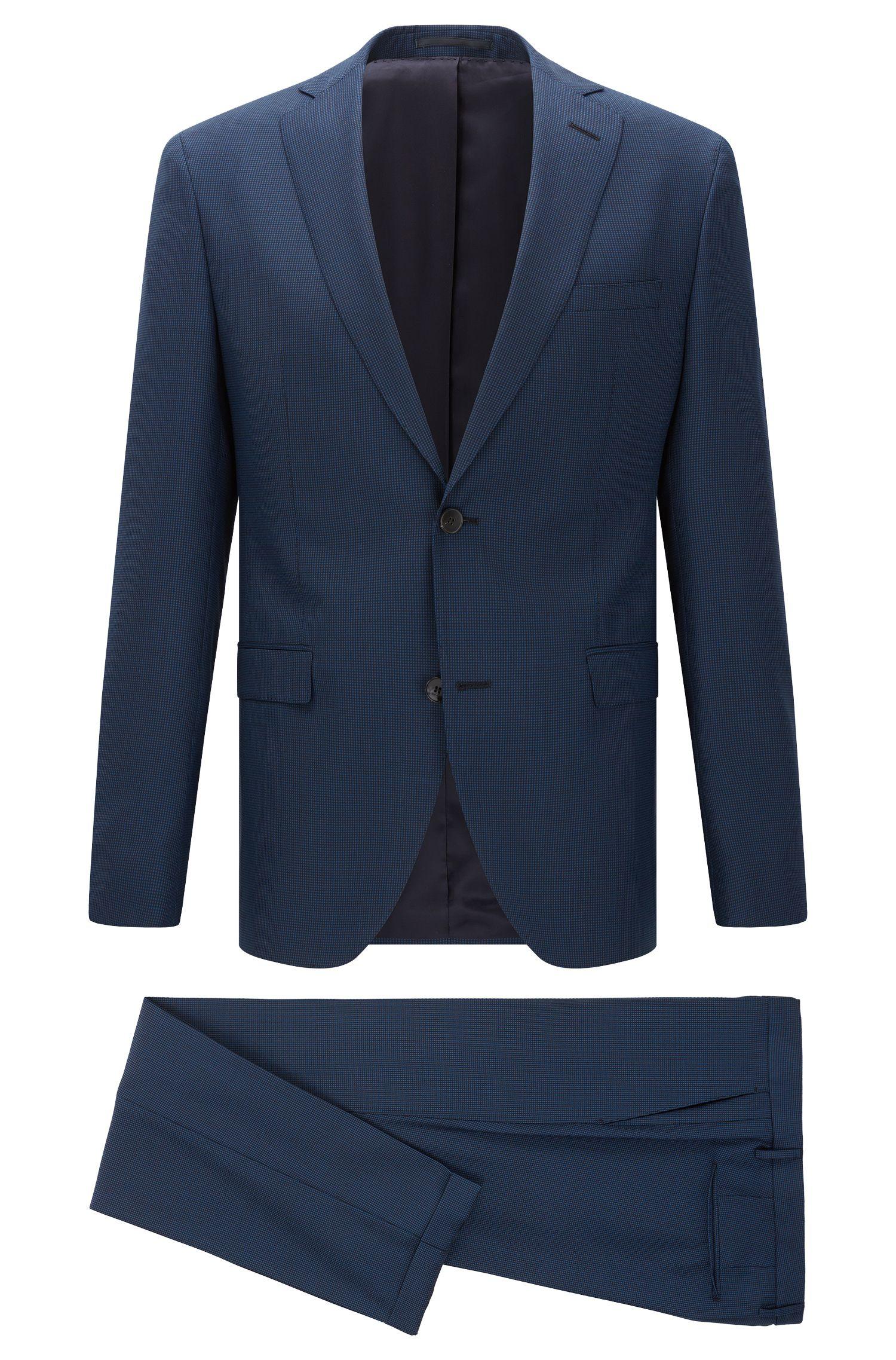 'Reyno/Wave' | Extra-Slim Fit, Birdseye Italian Super 100 Virgin Wool Suit