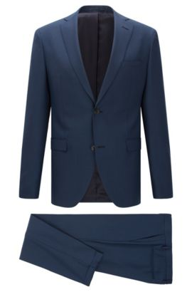 Birdseye Italian Super 100 Virgin Wool Suit, Extra-Slim Fit | Reyno/Wave, Blue
