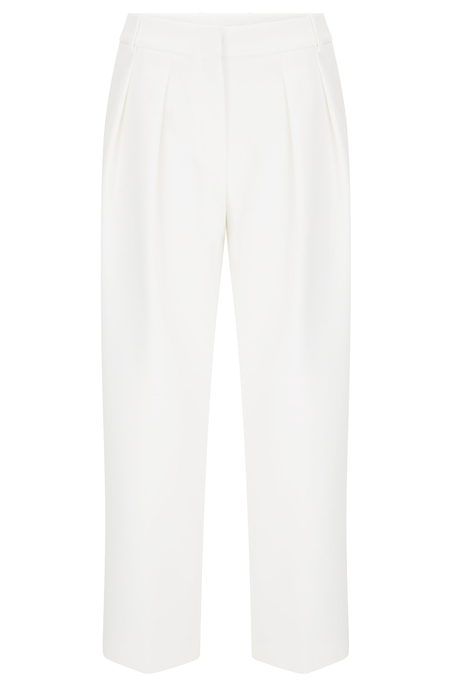 'Tomida' | Stretch Cotton Blend Pleated Trousers