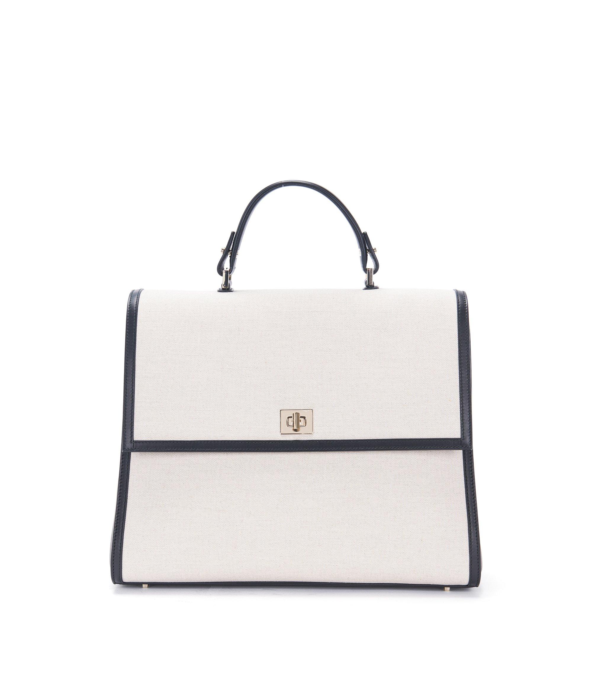 Leather-Trimmed Cotton-Linen Handbag | BOSS Bespoke TH M SC, Natural