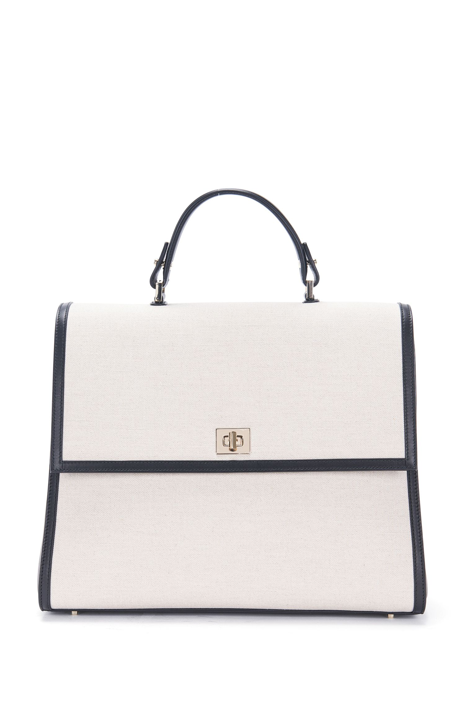 Leather-Trimmed Cotton-Linen Handbag | BOSS Bespoke TH M SC, Natural