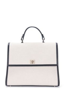 'BOSS Bespoke TH M SC' | Cotton Linen Leather Handbag, Detachable Strap, Natural