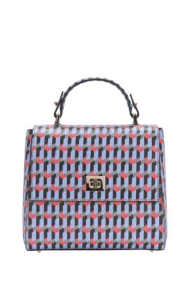 'Bespoke TH S FP' | Calfskin Printed Bag, Detachable Strap, Patterned