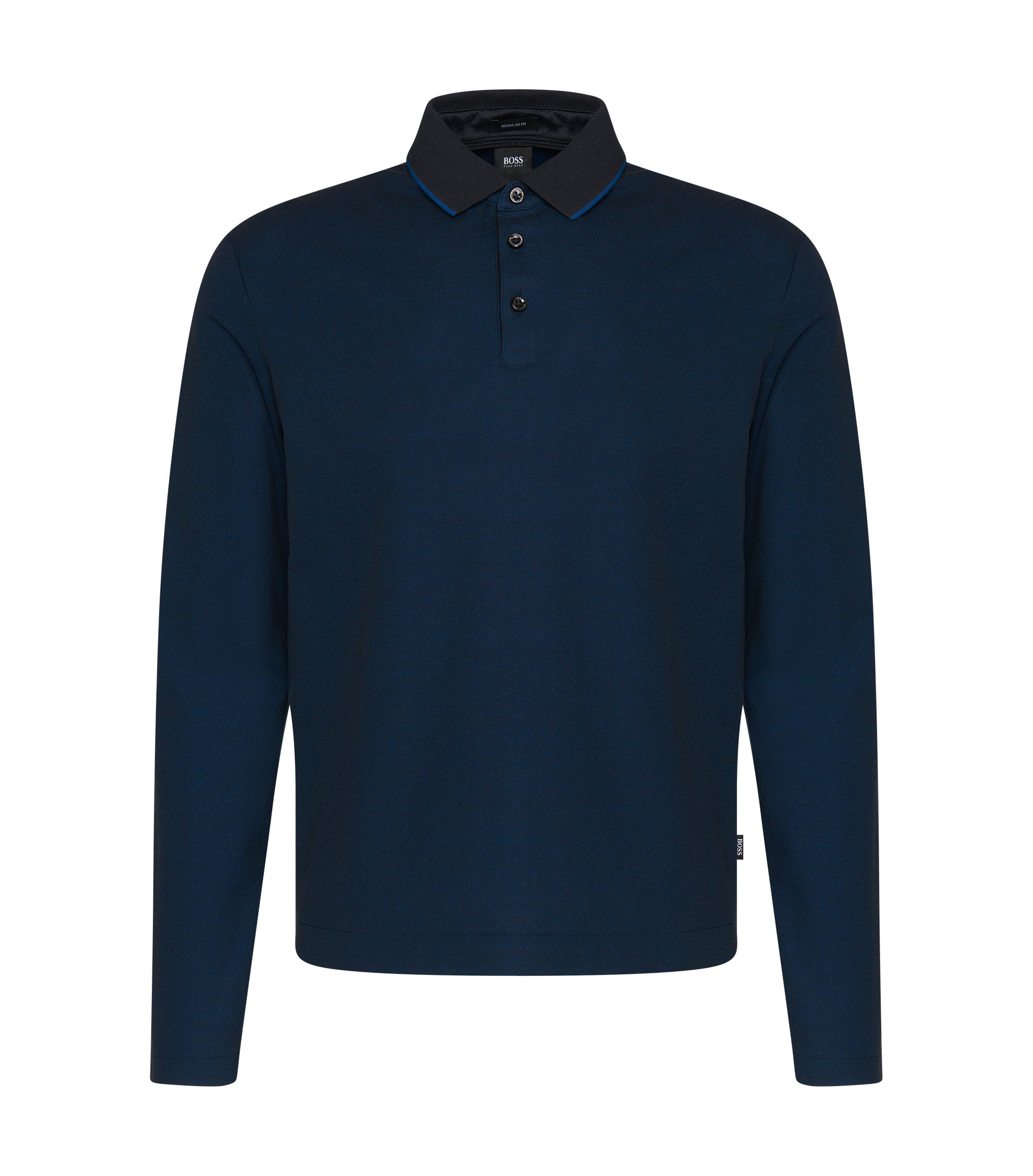 'Pado' | Regular Fit, Cotton Pique Polo, Dark Blue