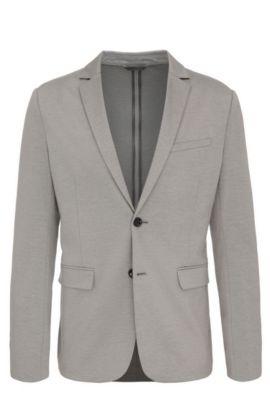 Cotton Blend Melange Jersey Sport Coat, Slim Fit | Aloon, Light Grey