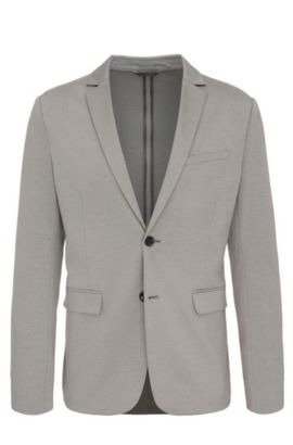 'Aloon' | Slim Fit, Cotton Blend Melange Jersey Sport Coat, Light Grey