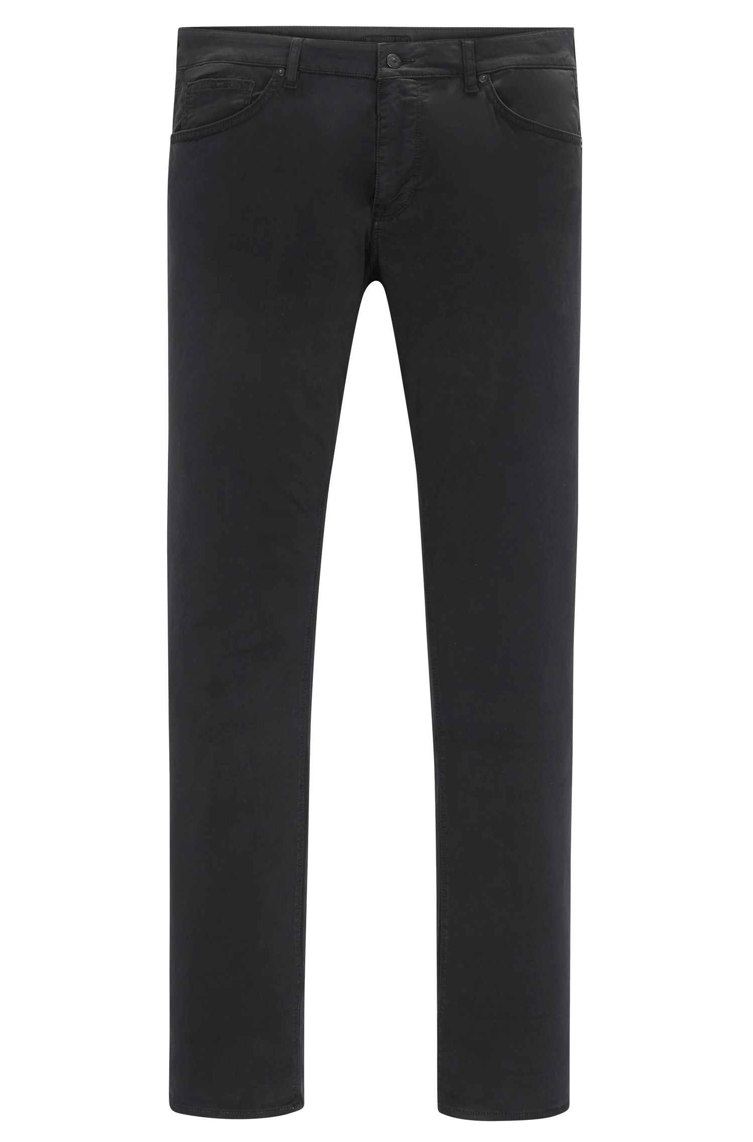 Regular-fit trousers in washed stretch cotton HUGO BOSS
