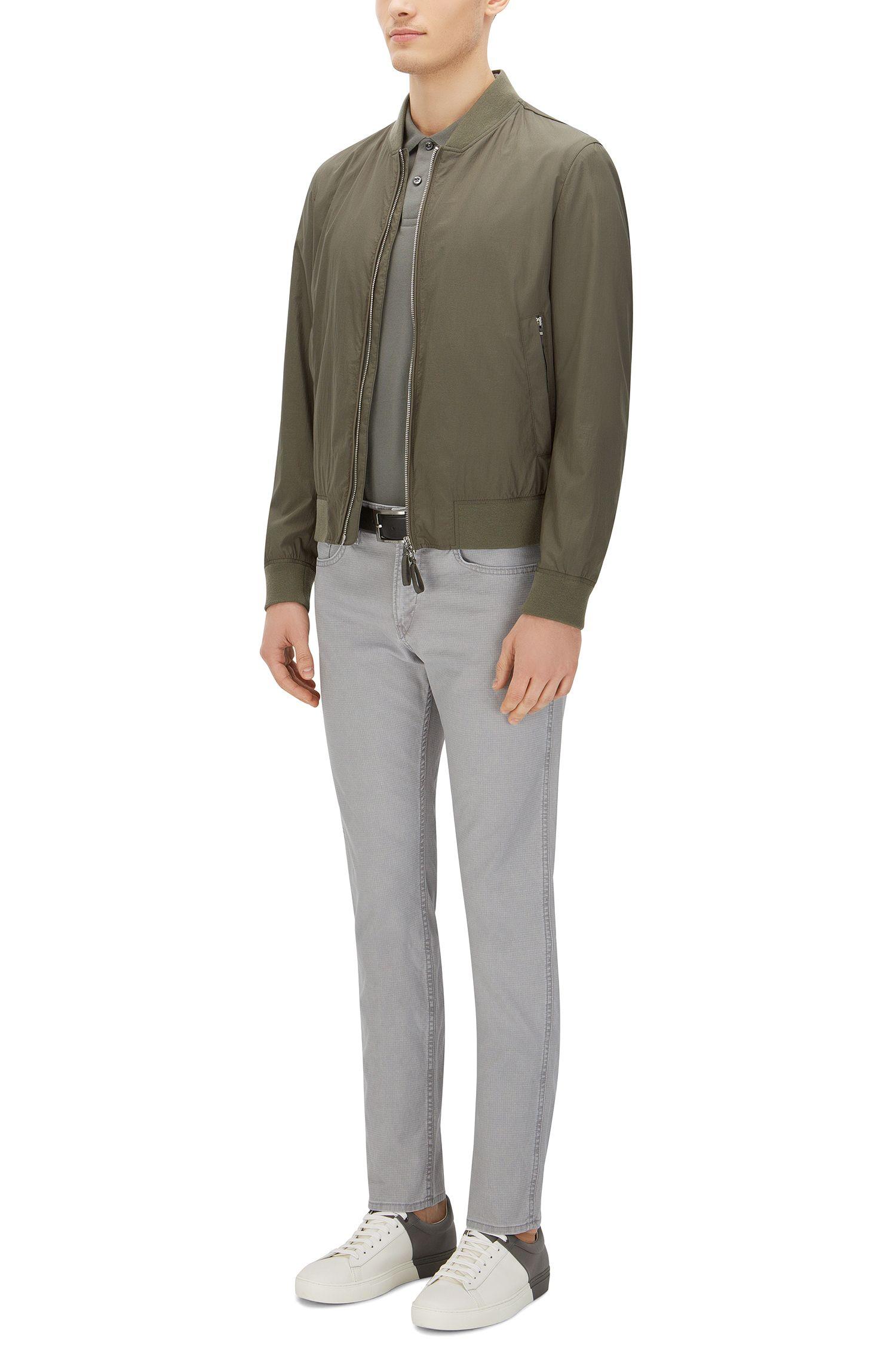 10 oz Patterned Stretch Cotton Pants, Slim Fit | Delaware