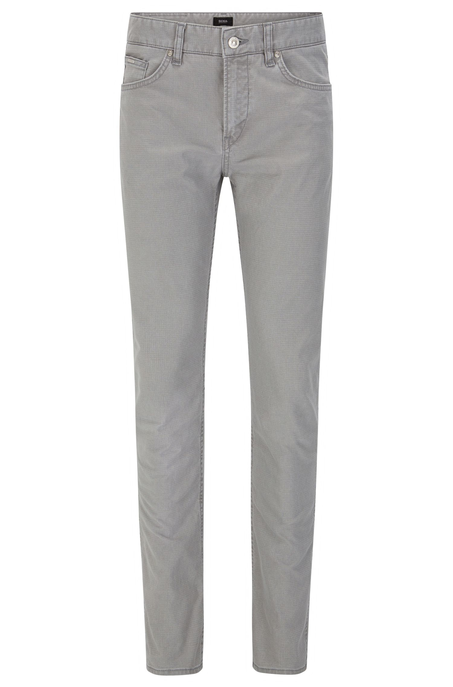 10 oz Patterned Stretch Cotton Pants, Slim Fit   Delaware