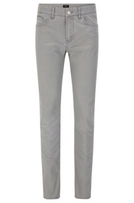 10 oz Patterned Stretch Cotton Pants, Slim Fit | Delaware, Open Grey