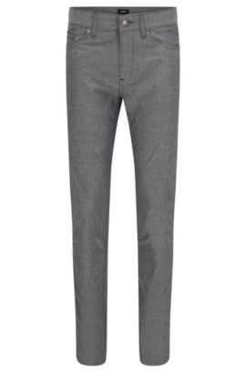 'Delaware' | Slim Fit, Chambray Stretch Cotton Jeans, Grey